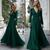 green prom dresses long sleeve v neck elegant cheap prom gown formal party