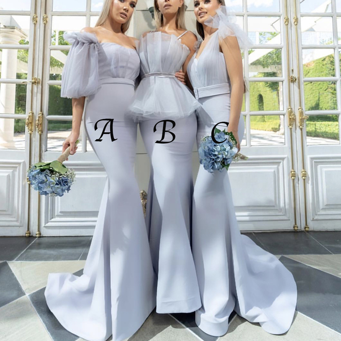 mismatched bridesmaid dresses long mermaid silver elegant cheap wedding party