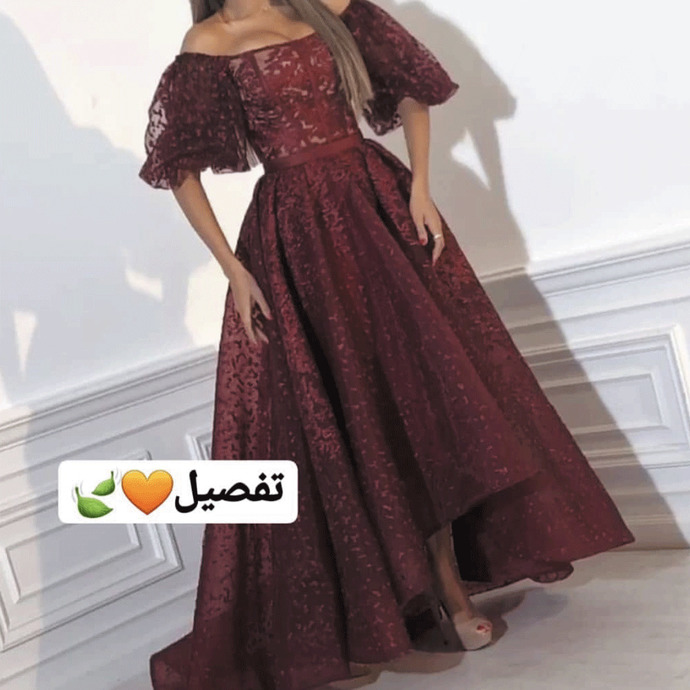Burgundy prom dresses lace appliqué off the shoulder short sleeve elegant cheap