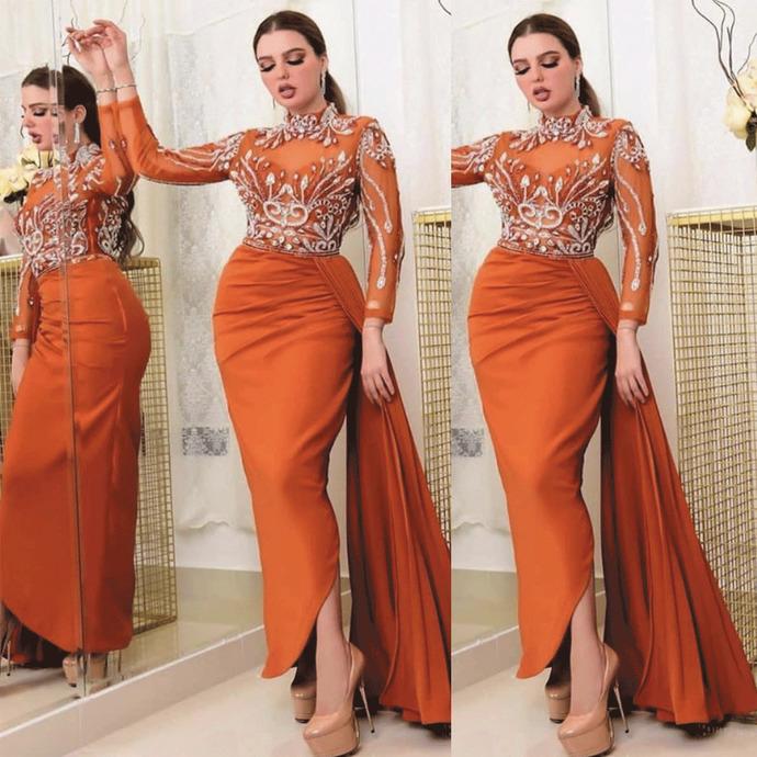 crystal evening dresses long sleeve high neck orange mermaid beaded elegant