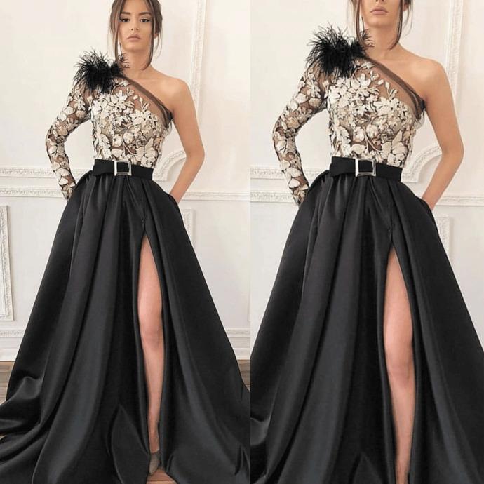 one shoulder black prom dresses elegant long sleeve lace appliqué satin cheap