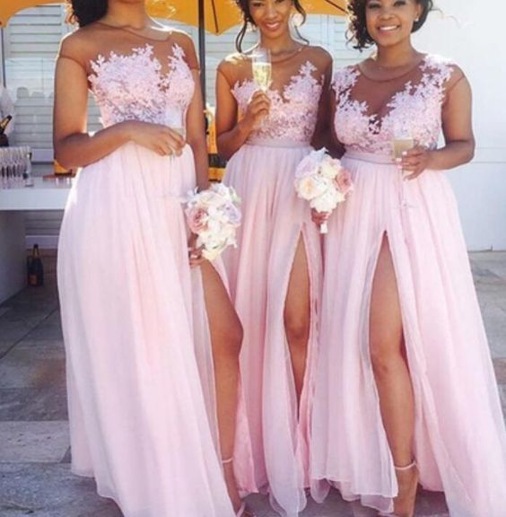 blush pink bridesmaid dresses long chiffon lace appliqué a line cheap wedding