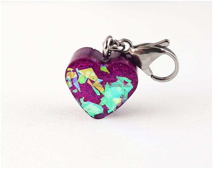 Magenta Heart Charm with Iridescent Glitter, Zipper Pulls, Pet Collar Charms,