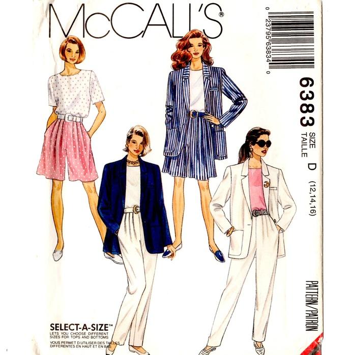 McCall's 6383 Misses Jacket, Top, Pants, Shorts 90s Vintage Sewing Pattern UNCUT