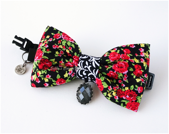 Roses are Red Bow Tie with Charm, Cat Accessories, Pet Jewelry, Bow Ties for