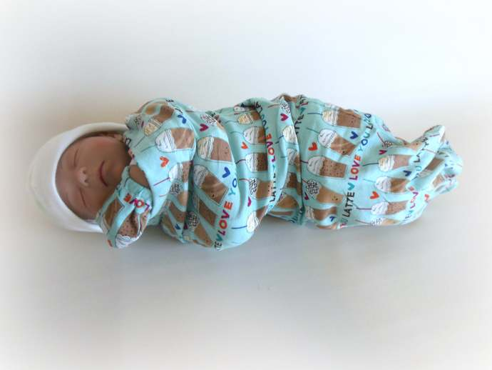 Swaddle Sack, Sleep Sack, Cocoon and Scratch Mittens in Latte Coffee Print