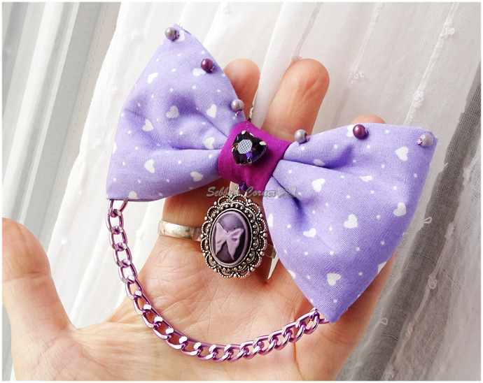 First Date Lavender Bow with Butterfly Cameo, Pet Photo Props, Pet Accessories,