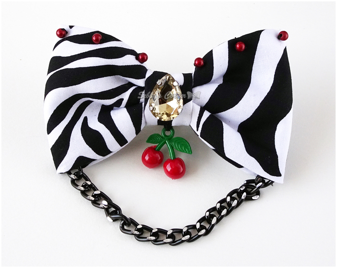 Yummy Cherry Zebra Print Bow Tie for Dogs, Cat Accessories, One of a Kind, Pet