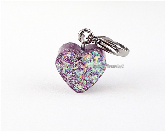 Lilac Holographic Heart Charm, Resin, Handcrafted, Zipper Pulls, Pet Jewelry