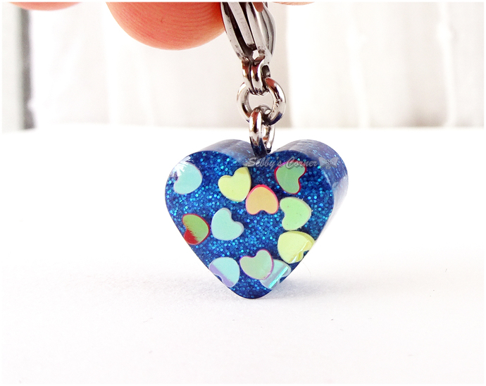 Love Hearts Blue Resin Heart Charm, Valentine's Day, Zipper Pull, Cat Jewelry