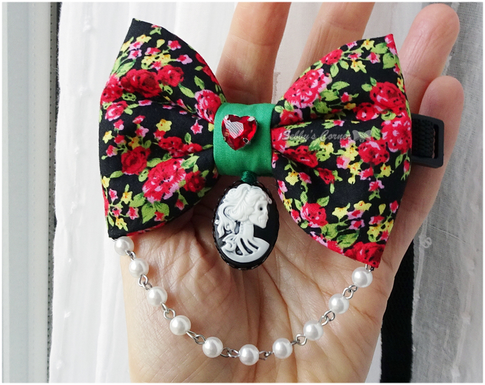 Love Eternal Handmade Bow Tie for Pets, Slide on Bow, Gothic Pet Accessories,