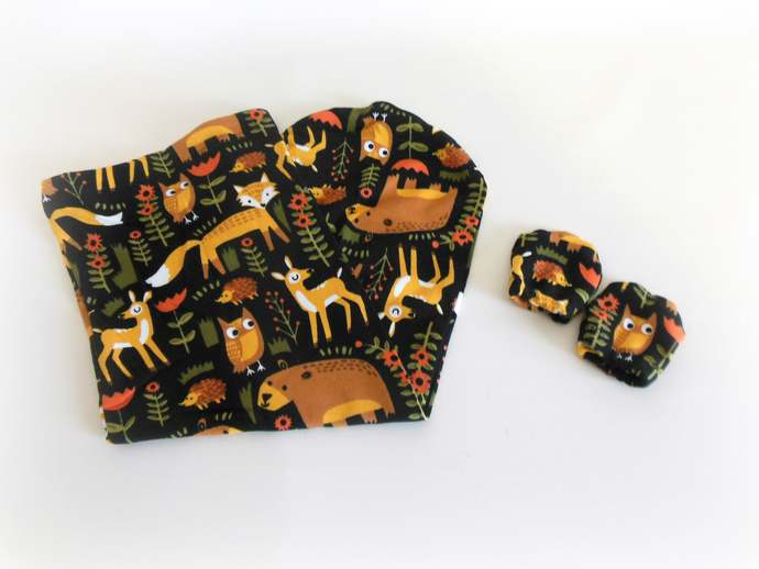 Swaddle Sack, Sleep Sack, Cocoon & Scratch Mittens in Woodland Animal Print