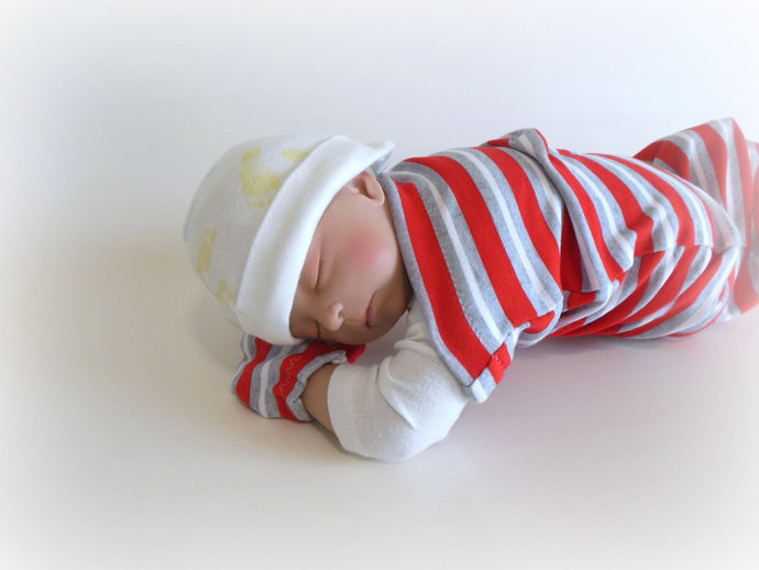 Swaddle Sack, Sleep Sack, Cocoon & Scratch Mittens in Red, Gray, White Stripes
