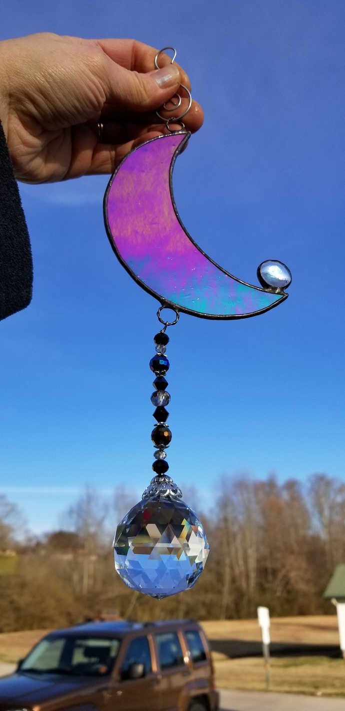 Stained glass Crescent Moon suncatcher with crystal pendant opaque black