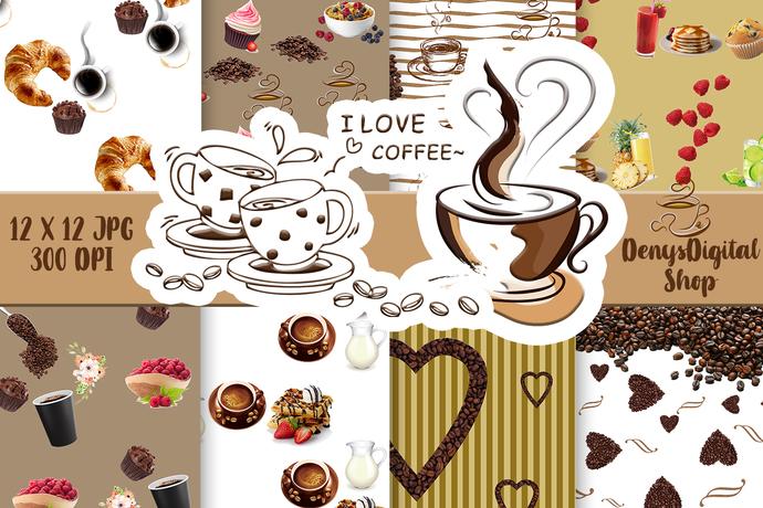 Coffee digital paper, Coffee digital paper pack, Coffee Downloadable print,