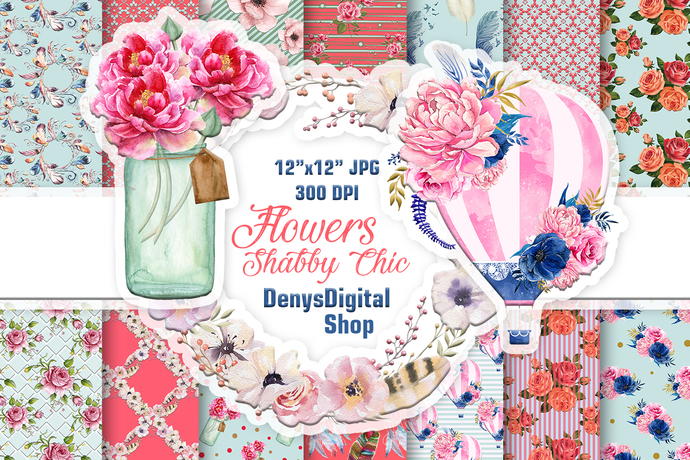 Shabby Chic Papers, Flowers Paper, Flowers Printable, Digital Scrapbook Papers,