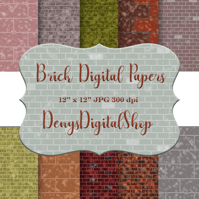 Brick Digital Paper, Brick paper, Bricks Wallpaper, Brick Background, Printable