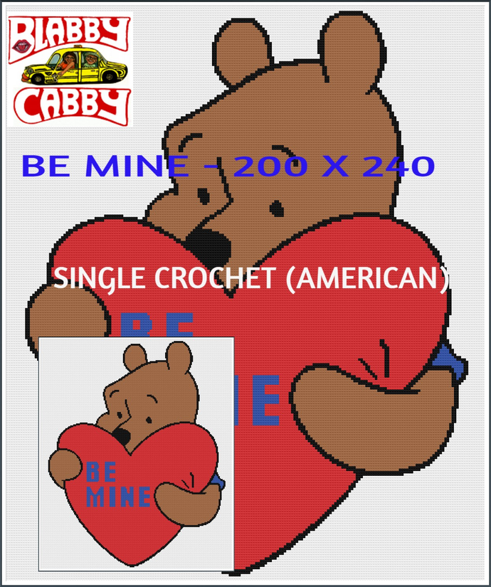 BE MINE - 200 X 240 - SINGLE CROCHET (AMERICAN) THROW. GRAPH AND LINE BY LINE