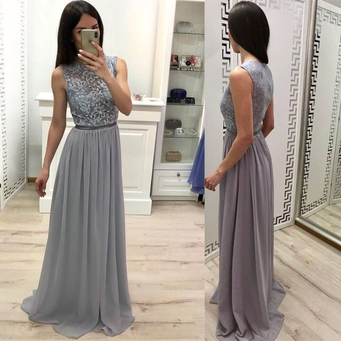 Gray Prom Dress,Chiffon Prom Gown,A-Line Evening Dress,Lace Prom Gown 0135