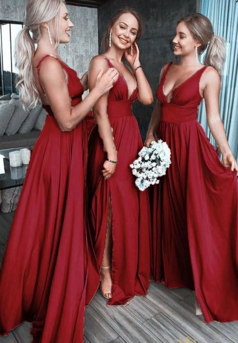 Burgundy bridesmaid dresses long a line v neck cheap custom wedding party