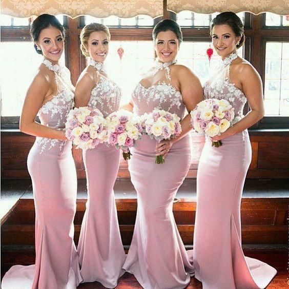 pink lace bridesmaid dresses long mermaid elegant cheap halter custom wedding