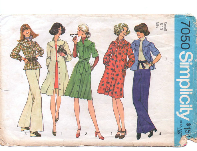 Simplicity 7050 Misses Yoked Loose Dress, Top 70s Vintage Sewing Pattern Size