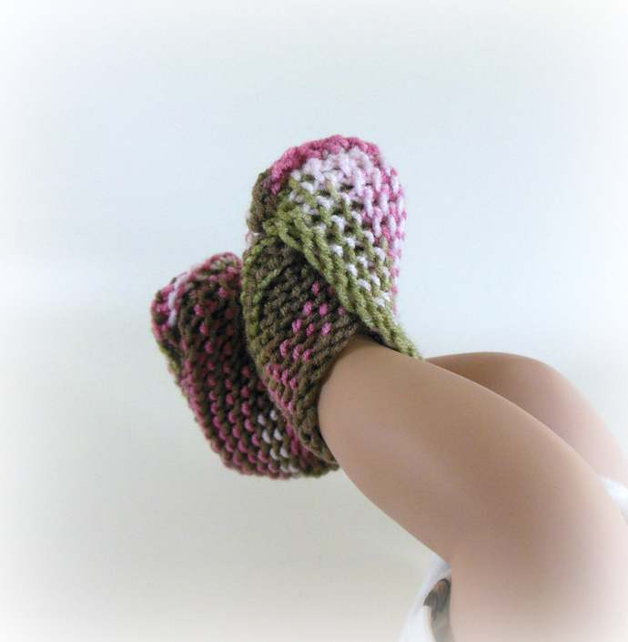 RTS Newborn Knit Booties, Slippers, Shoes in Frost Green, Pink Camo, or Cream