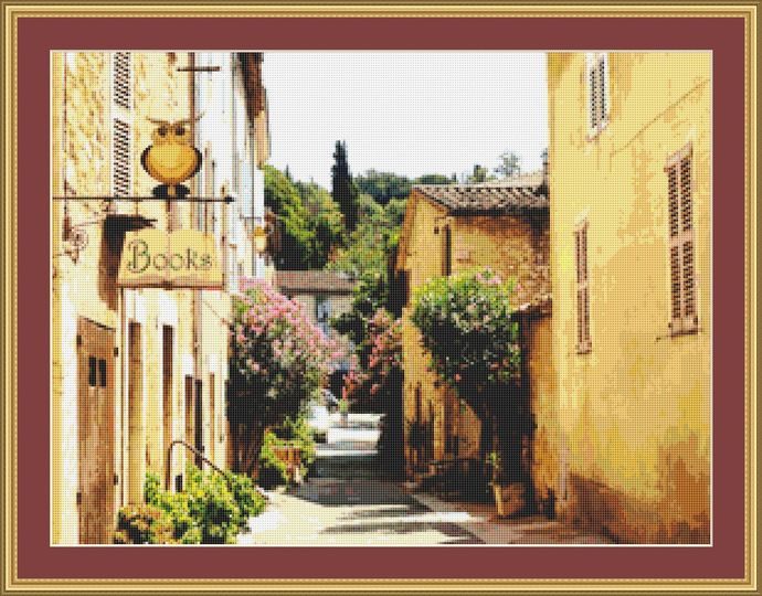 A French Street Cross Stitch Pattern - Instant Digital Download
