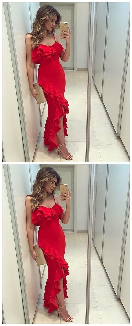Sexy Red Spaghetti Straps Mermaid Evening Dress, Red Long Prom Dress
