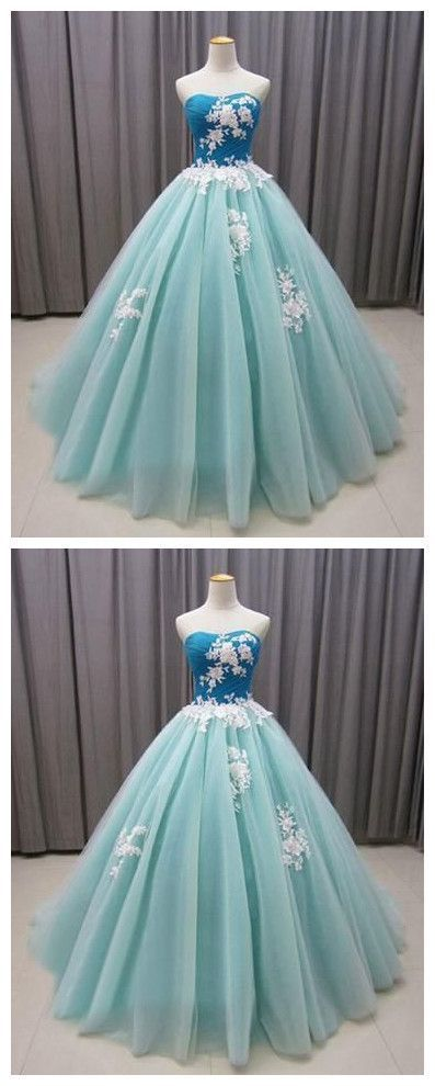Elegant Formal Strapless Tulle Quinceanera Dresses, Green Ball Gown Prom Dress