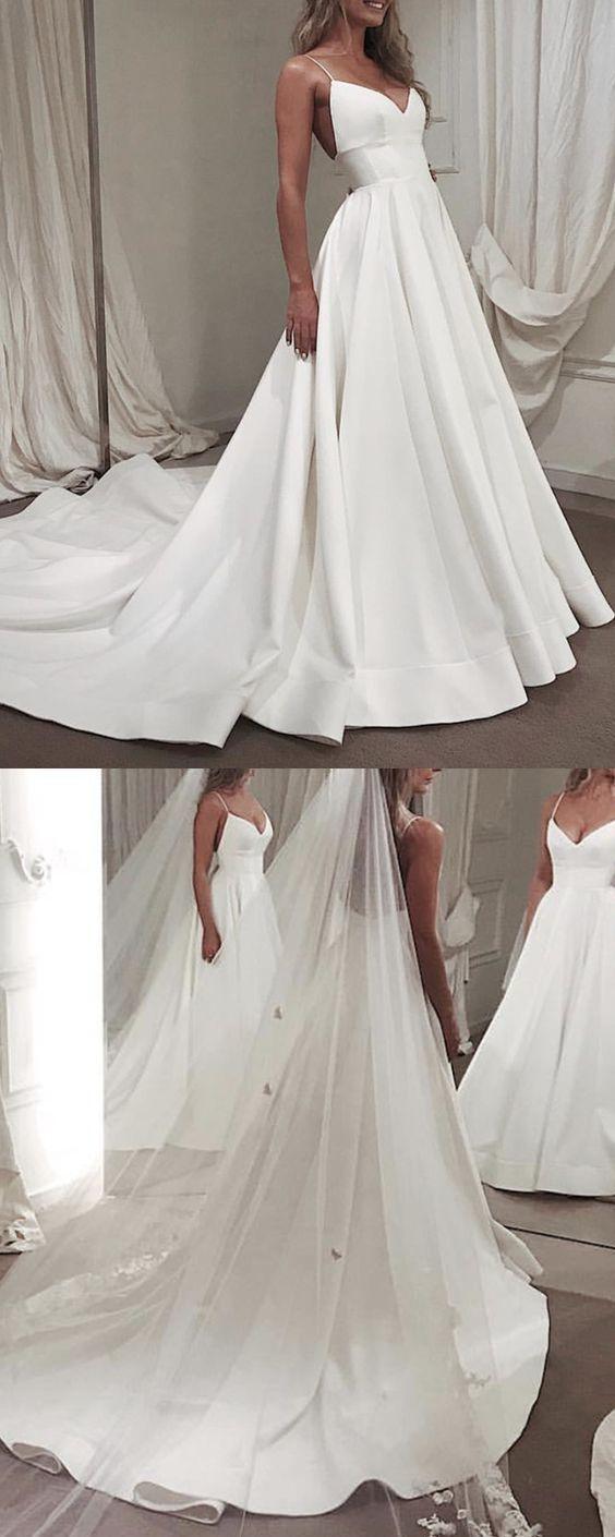 White V neck Spaghetti Straps Wedding Dress, Formal Wedding Bridal Gowns