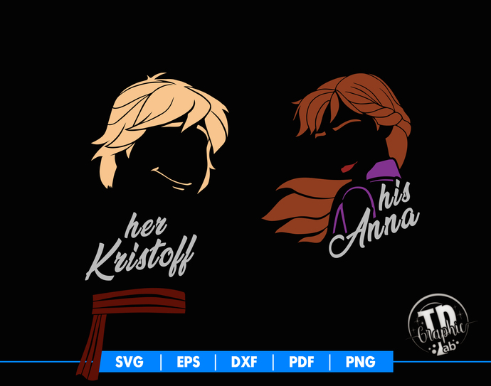 Frozen 2 SVG, Anna and Kristoff, Disney Couples, T-shirt Design Svg, Silhouette
