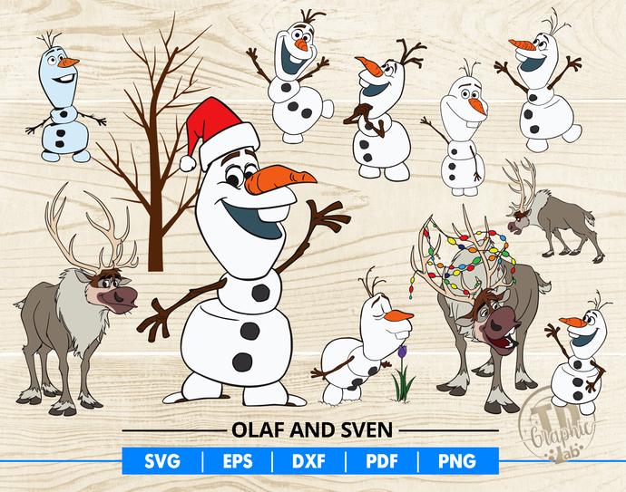 Frozen Olaf SVG Bundle, Olaf Clipart, Snowman Clipart, Sven Reindeer Silhouette,