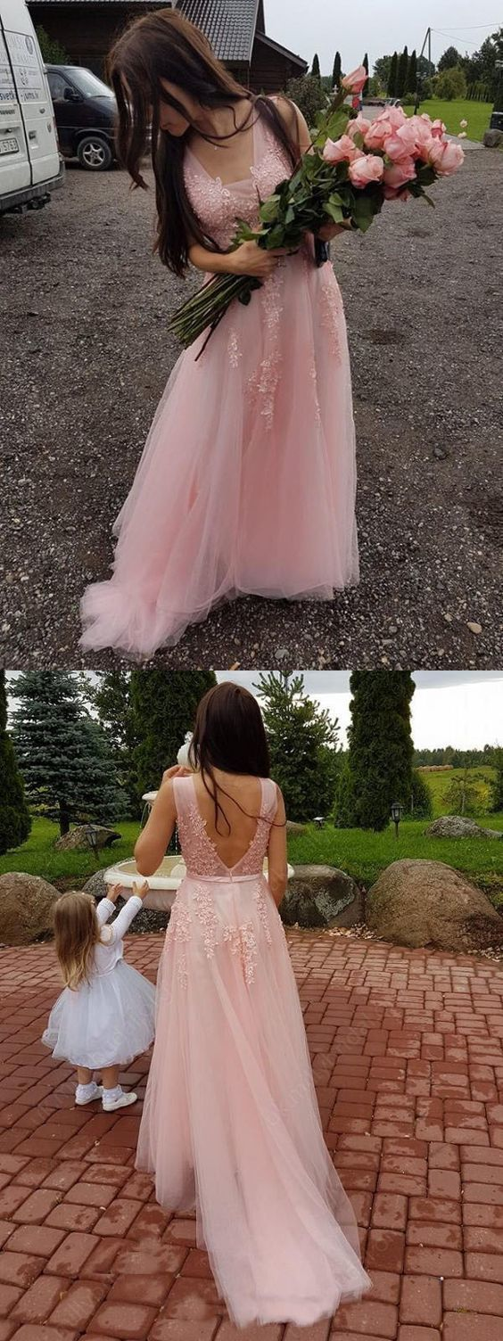 Elegant V neck Pink Tulle Prom Dress, Appliques Long Homecoming Dress, Wedding