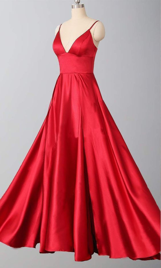 Charming V neck Spaghetti Straps A Line Prom Dress, Red Evening Dress