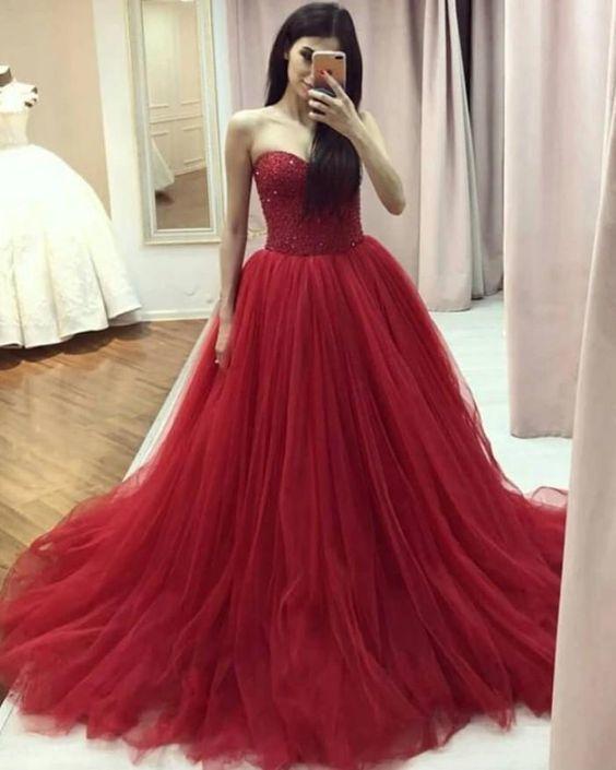 Sweetheart neck Tulle Ball Gown Prom Dress, Beaded Formal Dresses
