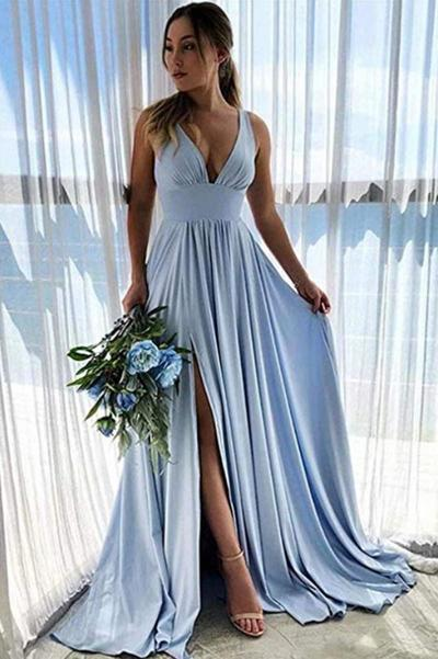 Deep V neck Light Blue A Line Bridesmaid Dress with Slit, Wedding Guest Dress