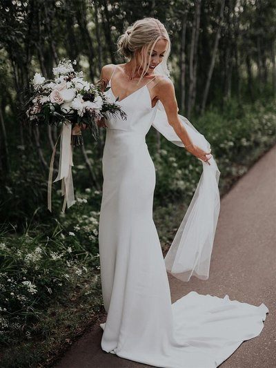 Sexy V neck Spaghetti Straps Mermaid Wedding Dresses Bridal Gowns