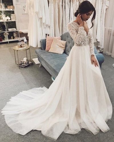 Long Sleeve Lace Formal Wedding Dress Bridal Gowns