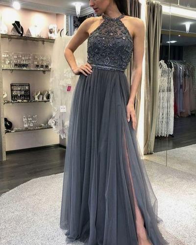 Elegant Halter Tulle Prom Dress, Grey Beading Long Evening Dress