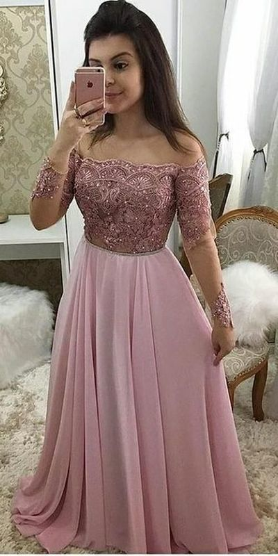 Sexy Long Sleeve Pink A Line Prom Dress, Appliques Evening Dress