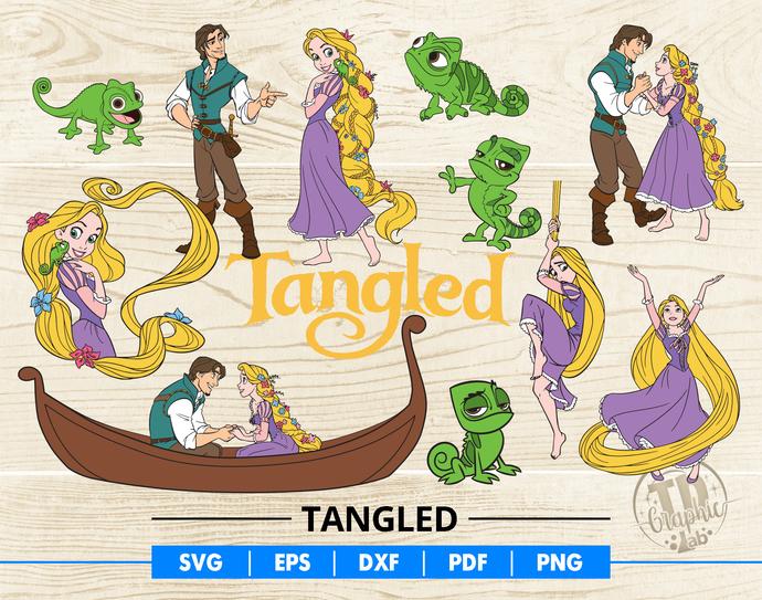 Tangled SVG Bundle, Rapunzel Svg, Flynn Rider, Disney Couples, Pascal, Cartoons