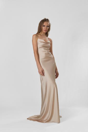 Champagne Cowl Neck Silk Satin Slip Long Bridesmaid dress,  Cocktail Engagement