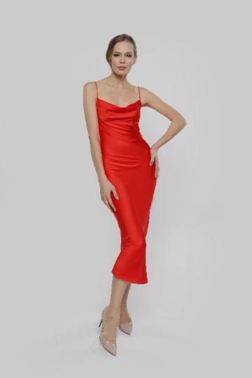 Red Cowl Ne Silk Satin Slip Midi Bridesmaid Dress,  Cocktail Engagement Prom