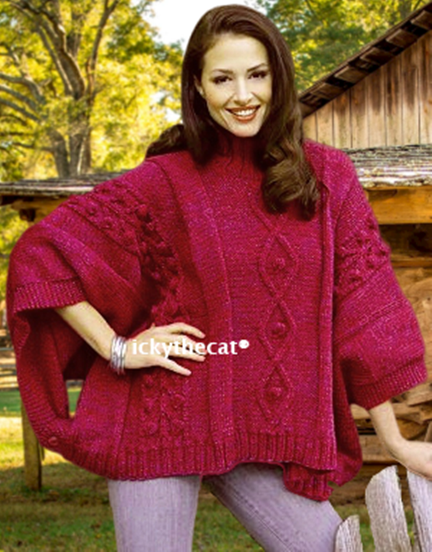 PDF Digital Download Vintage Knitting Pattern Women's Ladies Aran Cable Poncho