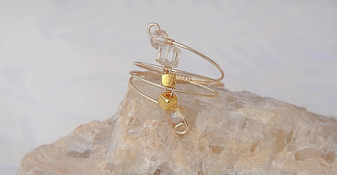 Geometric Gold Wire wrapped, Gifts, Champagne Crystals, Gold Metal Geometric