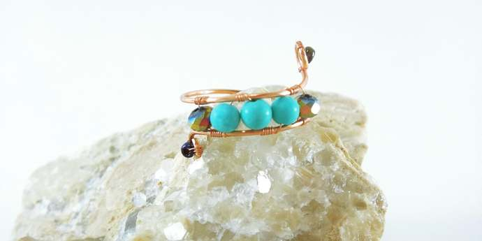 Petite Copper Rings, Turquoise Rings, Midi Rings, Dainty wire wrapped ring, Boho