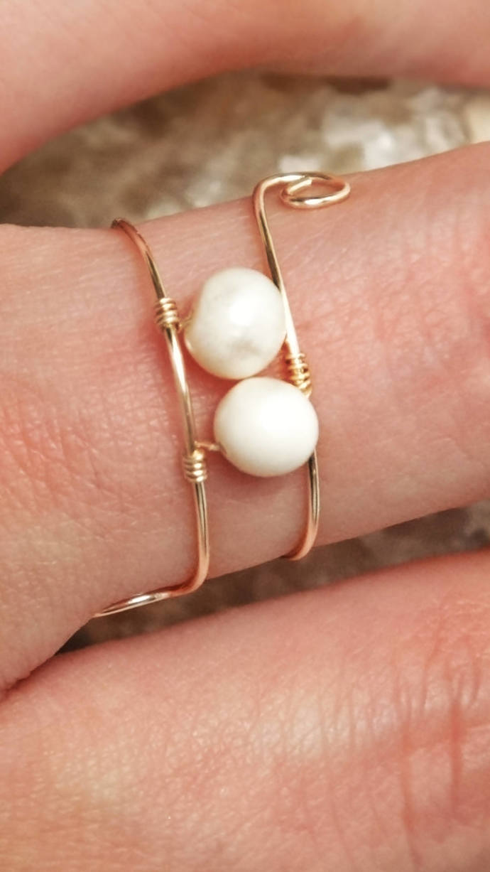 Delicate gold wire wrapped ring, Dainty pearl ring, Gold wrapped ring, Sizes