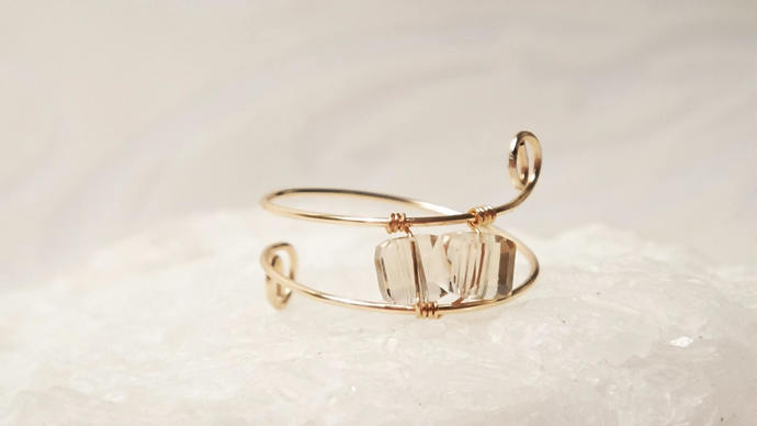 Delicate Gold Wire Wrapped Ring, Champagne Color Crystals, Sizes 3-13, Gold,