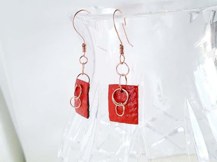 Burnt Orange Earrings,Geometric Earrings Dangle,Minimalist Earrings,Fall Jewelry